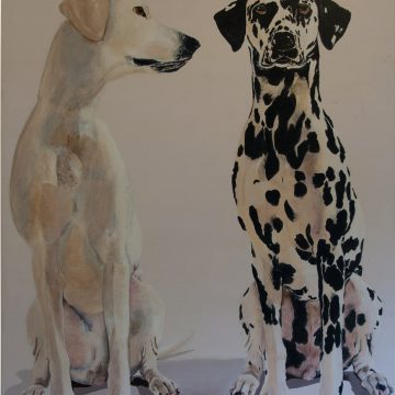 Schilderij met twee honden, Olieverf op doek, 70 x 100 cm