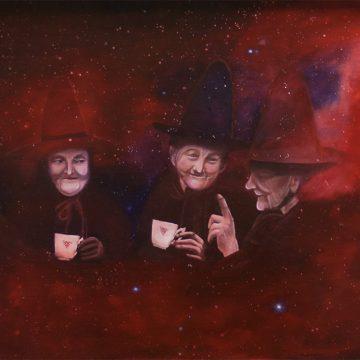 Schilderij Magisch Onderonsje, vier kosmische heksen met thee